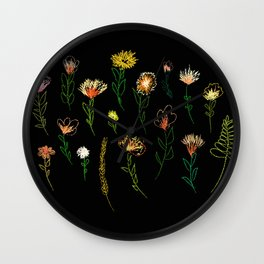 Embroidered effect flower drawings. Posters or cards. Vector. Black background.Covers, flyers, banne Wall Clock