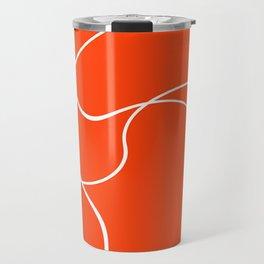 """Abstract lines"" - White on orange Travel Mug"