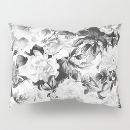 Black gray modern watercolor roses floral pattern Pillow Sham