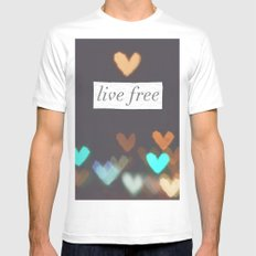 Live Free  White Mens Fitted Tee MEDIUM