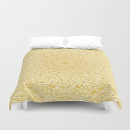 Most Detailed Mandala! Yellow Golden Color Intricate Detail Ethnic Mandalas Zentangle Maze Pattern Duvet Cover