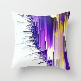 color splash purple indigo white yellow black abstract digital painting Throw Pillow