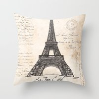 eiffel tower Throw Pillows featuring Eiffel Tower by Debbie DeWitt