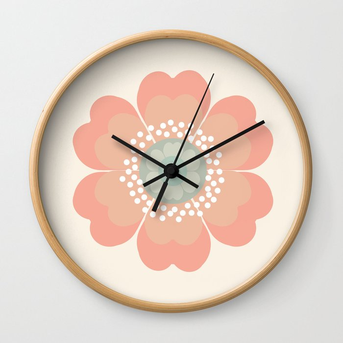 Good Look - 70s retro vibes floral flower power 1970's colorful retro vintage style Wall Clock