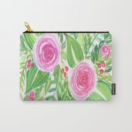 Spring Floral Pink Roses Green Leaves Watercolor Carry-All Pouch