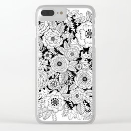 Black and White Floral Love Clear iPhone Case