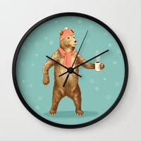 polar bear Wall Clocks featuring Polar Bear by Fresh Prints