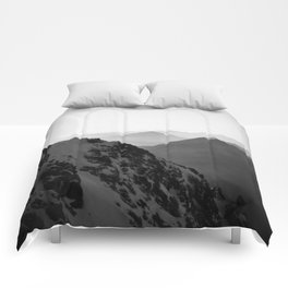 Mountain Side Black and White Photo Europe Nature Comforters