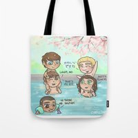 cyrilliart Tote Bags featuring Pool Fun Times by Cyrilliart