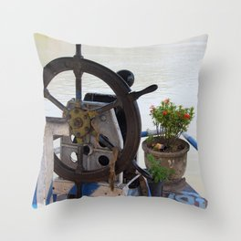 Mekong River Ship Detail ship's wheel potted plant Throw Pillow