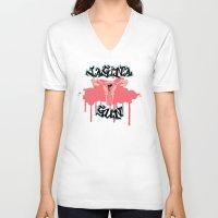vagina V-neck T-shirts featuring Vagina Gun by Killmonkies