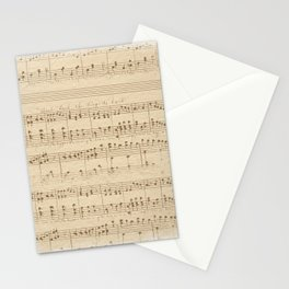 vintage beige music notes Stationery Cards