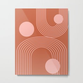 Lines in Terracotta and Blush Metal Print