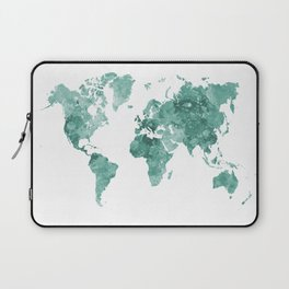 World map in watercolor green Laptop Sleeve