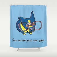 boston terrier Shower Curtains featuring Boston Terrier by khalan