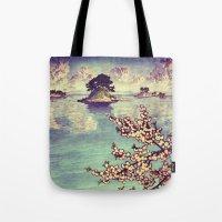 sunset Tote Bags featuring Watching Kukuyediyo by Kijiermono