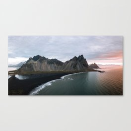 Iceland Mountain Beach Sunrise - Landscape Photography Canvas Print