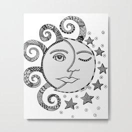 CELESTE - sun and moon, pen and ink art Metal Print