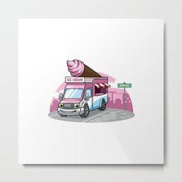 Cartoon Ice Cream Food Truck Metal Print