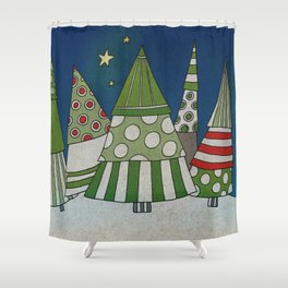 Night in the Winter Forest Shower Curtain