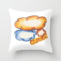 cloud Throw Pillows featuring Cloud by kartalpaf
