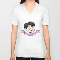 snk V-neck T-shirts featuring ♥ shaddup ♥ by kiokushitaka