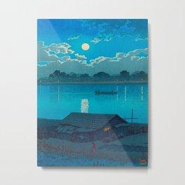 Vintage Japanese Woodblock Print Fishing Village At Night Fishing Boat Moonlight Metal Print