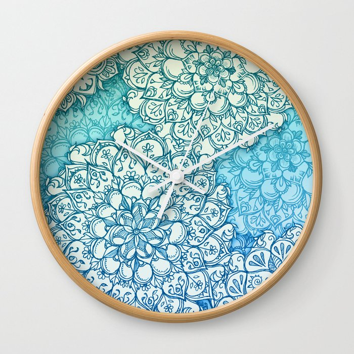 Blue Green Ballpoint Pen Doodle Poem Wall Clock