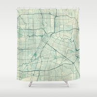 houston Shower Curtains featuring Houston Map Blue Vintage by City Art Posters