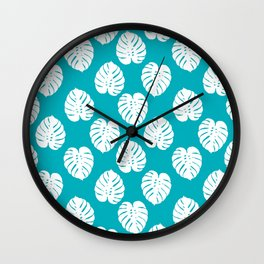 Monstera house plant pattern tropical summer bright happy home decor gifts for dorm room Wall Clock