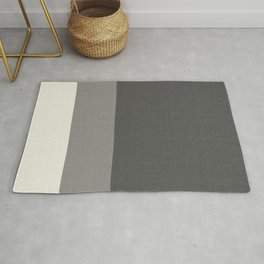 Tri-Color Split Vertically Grey Geometry Rug