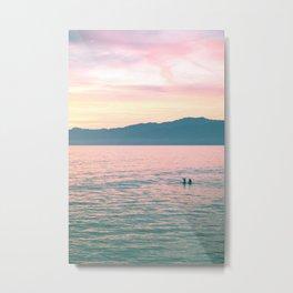Beach Mountain Sunrise Metal Print