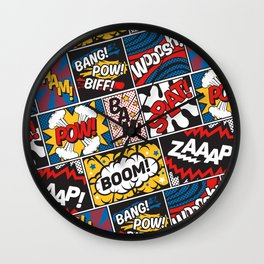 Modern Comic Book Superhero Pattern Color Colour Cartoon Lichtenstein Pop Art Wall Clock