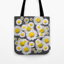 CHARCOAL GREY GARDEN OF SHASTA DAISY FLOWERS Tote Bag