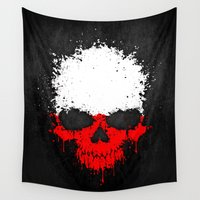 poland Wall Tapestries featuring Flag of Poland on a Chaotic Splatter Skull by Jeff Bartels