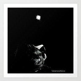 Full Moon Black and White Art Print