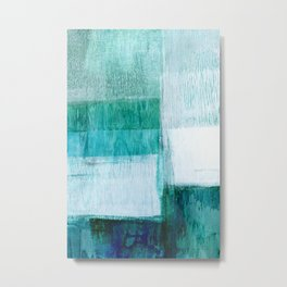 Aqua Blue Geometric Abstract Textured Painting Metal Print