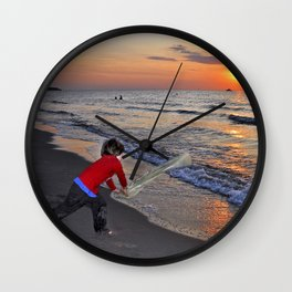 LITTLE DEVIL ON THE SUNSET-BEACH Wall Clock