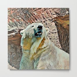 Toony Polar Bear Metal Print