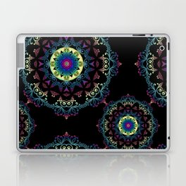Abstract mandala-pattern on the black background Laptop & iPad Skin
