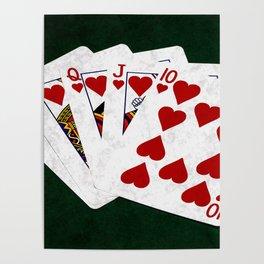 Poker Royal Flush Hearts Poster