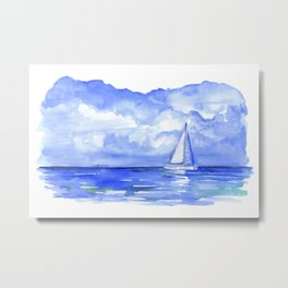 Sailboat on the Ocean Watercolor Metal Print