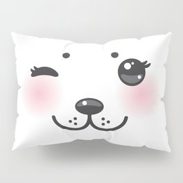 Kawaii funny albino animal white muzzle with pink cheeks and winking eyes Pillow Sham