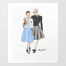 Prep School Girls fashion illustration  Art Print
