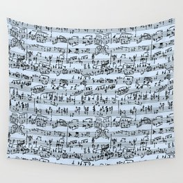 Hand Written Sheet Music // Light Blue Wall Tapestry