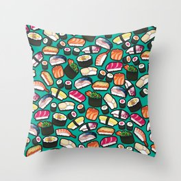 Sushi Aqua Throw Pillow