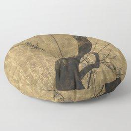 Checkered-Background Plum Tree Japanese Folding Screen Floor Pillow