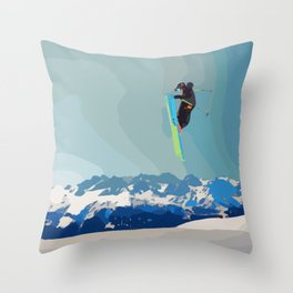 Man on skis, sky jumping, with mountains and blue sky on the backgound Throw Pillow