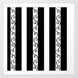 Stripes and Thorny Vines by Dark Decors - Black and Whites Art Print