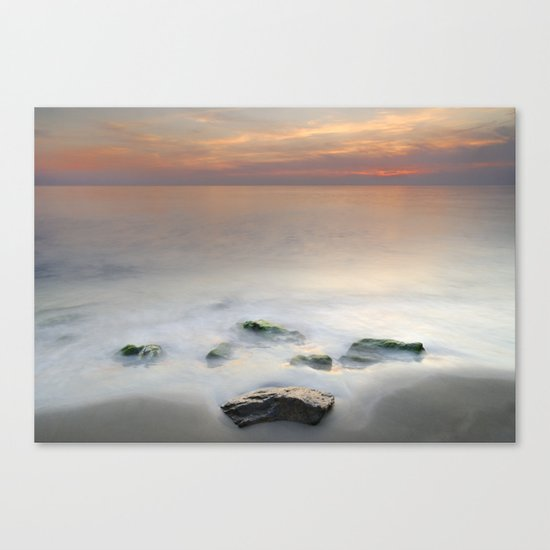 Calm red sunset at the beach Canvas Print